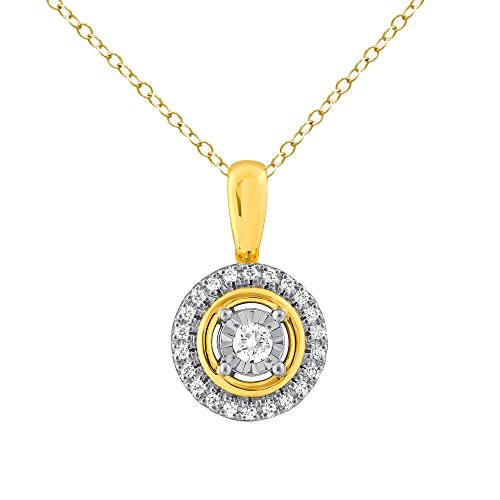 Christmas Gifts Real Diamond Pendant For Women in 925 Sterling Silver 0.50CTTW Yellow Plated Diamond Necklace with Cable Chain 18'' by Store Indya Jewelry