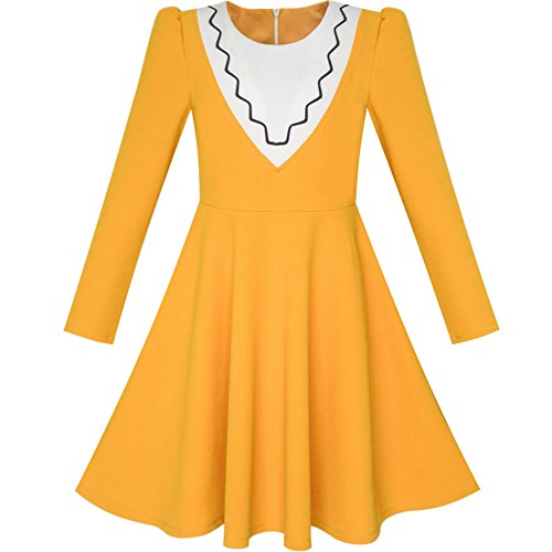 Sunny Fashion LH65 Girls Dress Back School Long Sleeve Yellow Dress Size 12 by Sunny Fashion