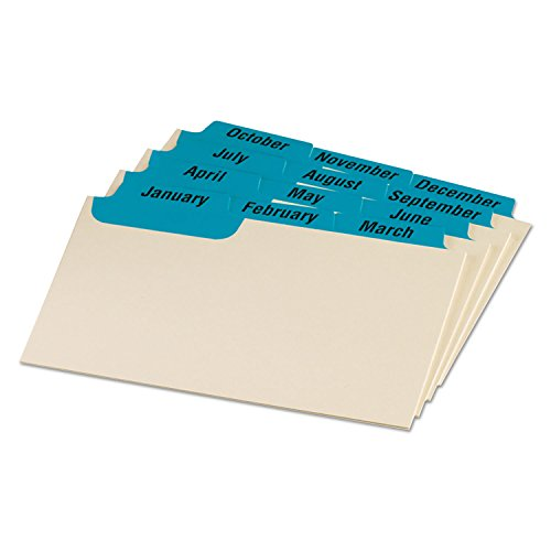 Oxford 03513 Laminated Index Card Guides, Monthly, 1/3 Tab, Manila, 3 x 5, 12/Set