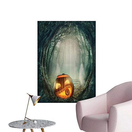 Vinyl Artwork Scary Halloween Pumpkin in Enchanted Forest Mystic Twilight Party Theme Easy to Peel Easy to Stick,32
