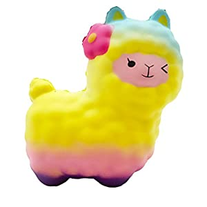 Ouflow Jumbo Squishy Slow Rising Sheep Kawaii Lamb Cream Scented Soft Animal Squishies Toys(Colorful)
