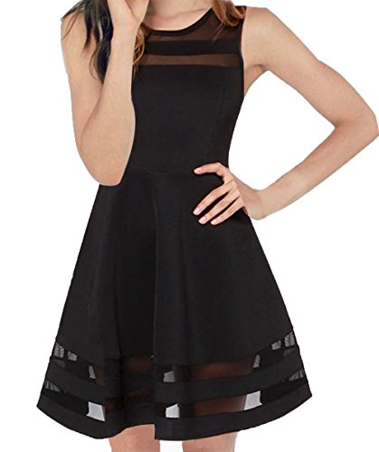 (FACE N FACE Women's Mesh Slim Sleeveless Short Mini Flare Dress Medium Black)