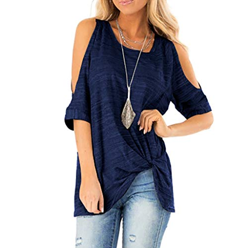 Summer T Shirt Women Half Sleeve Cold Shoulder Casual Tunic Top, Loose Twist Knotted Tops Blouse, Hot Fashion Tee for Lady Blue