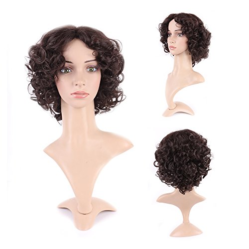Curly Synthetic Wig Brown Short Hair Japanese Kanekalon Fiber 12 Styles Fluffy Heat Resistant Wig for Women Girls Lady ,10'' / 10 inch #2 Dark brown