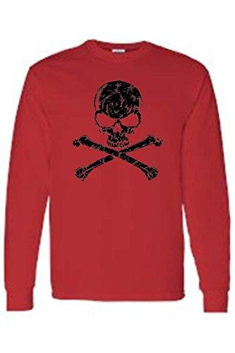 SHORE TRENDZ Men's/Unisex Biker Black Skull and Cross Bones RED Long Sleeve T-shirt (5XL)