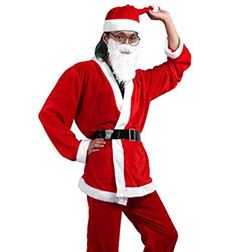 Agoky Mens Women Miss Velvet Santa Suit Deluxe Set Adult Santa Claus Costume with Belt Hat Beard Red&Mens One Size