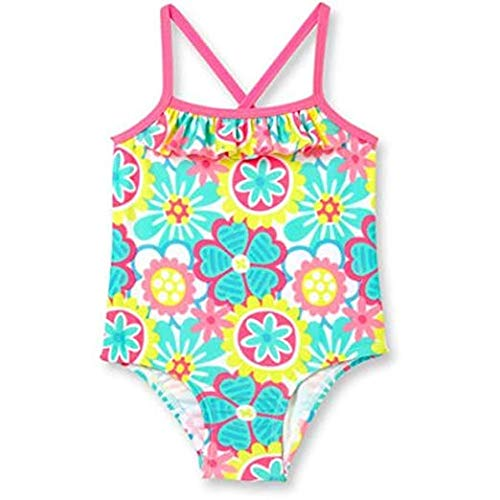 Op Baby Girl Ruffle Trim One-Piece Swimsuit (6-9 months, Daisy Doodle)