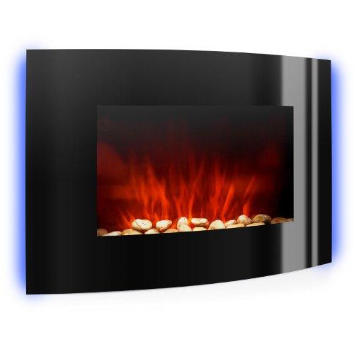 Klarstein Lausanne Elektrokamin Kaminfeuer schmaler Kamin elektrisch (2000 W, mit Heizlüfter, LED-Beleuchtung, Fernbedienung) schwarz