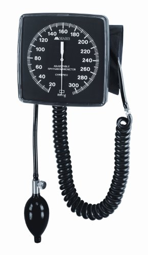 MABIS Legacy Professional Clock Aneroid Sphygmomanometer Blood Pressure Gauge with Adult Cuff, Wall Mounted, Black