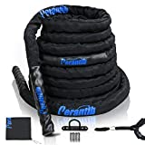 "Perantlb 100% Poly Dacron Heavy Battle Rope - 1.5"", 30' 40' 50' Lengths - Upgraded Durable Protective Sleeve - Gym Muscle Toning Metabolic Workout Fitness - Anchor Strap Kit Included"