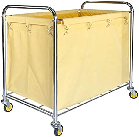 Stainless Steel Cleaning Service Cart Heavy Duty Large Basket Truck/ Trolley Color : Brown Load 100kg ZAQI Hotel Industrial Linen Trolley
