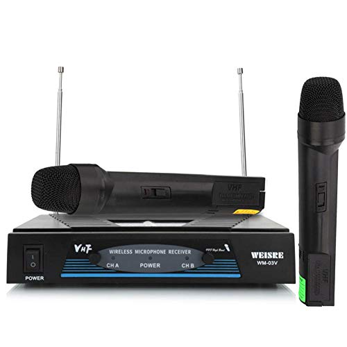 Wireless Microphone System Sets Microphone System Dual Handheld Microphone Party KTV Bar Stage Meeting Equipment For 16 Hours Continuous Use For Family Party,Church,Small Karaoke Night (Lock Classroom Brass)
