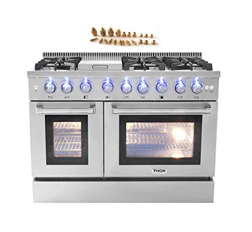 48″ 6 Burner Gas Range with Double Oven + LP Conversion Kit Bundle
