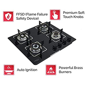 Hafele Magna 60-4, Supernova Powerful Brass Burner Gas Hob, Stove with Auto Ignition, 4 Burners with Flame Failure Safety Device – 60 cm