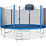 Merax 15 FT Trampoline with Safety Enclosure Net, Basketball Hoop and Ladder - 2020 Upgraded – Kids Basketball Trampoline