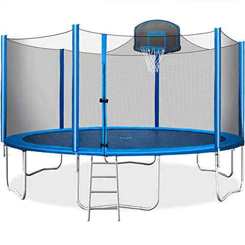 Merax 15 FT Trampoline with Safety Enclosure Net, Basketball Hoop and Ladder - 2019 Upgraded - Kids Basketball Trampoline (Blue) (Best Dunks On A Trampoline)