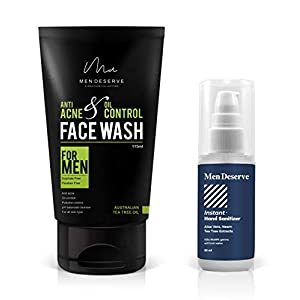 MEN DESERVE Anti Acne Gel Base and Oil Control Face Wash with Free Instant Hand Sanitizer (Sulphate-free and Paraben…
