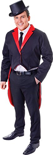 Male Ringleader Costume (Adults Historical Fancy Dress Party Smart Ringleader Men's Tail Coat Black & Red)