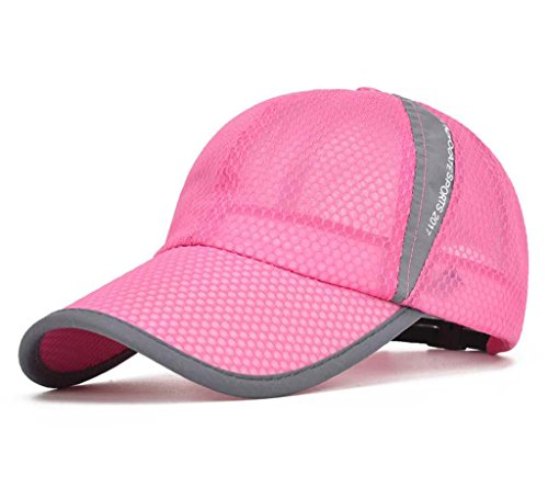CRYSULLY Unisex Mesh Quick Dry Outdoor Sports Caps Curved Brim Stretch Fit Cap Free-Size Sun Hat Strapback Cap - Stretch Lightweight Cap