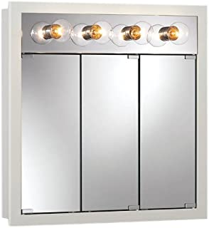 Jensen 755371 Granville Lighted Medicine Cabinet With Four Bulbs, Classic  White, 30 Inch