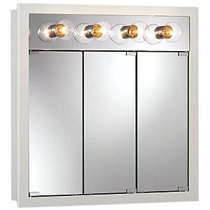 Jensen Medicine Cabinets Granville Tri-View 4-Light 30W x 30H in. Surface Mount Medicine Cabinet