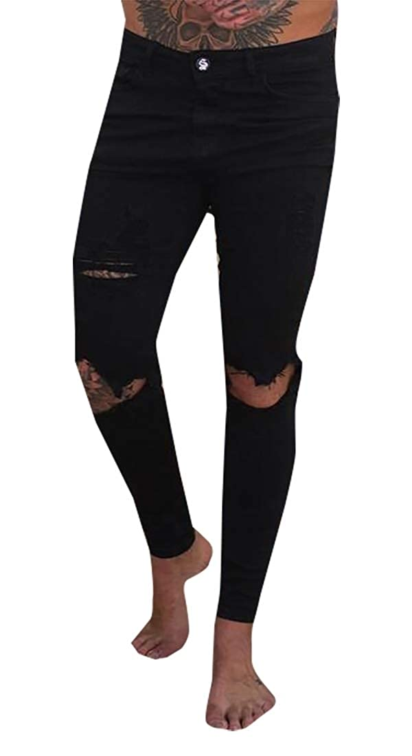 YIhujiuben Mens Slim Fit Distressed Punk Hip-Hop Washed Fashion Jeans Denim Pants