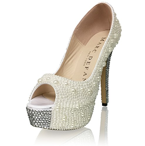 New York High Heels (Marc Defang New York Women's Pearl High Platform Pumps with Crystalized Heel/Toe Accent (8.5M US))