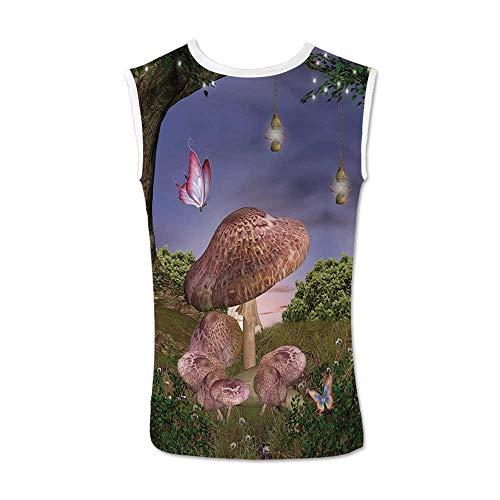 - Mushroom Comfortable Tank Top,Enchanted Forest Nature Vegetation Bushes Ancient Tree Butterflies Fairytale Art Decorative for Men,S