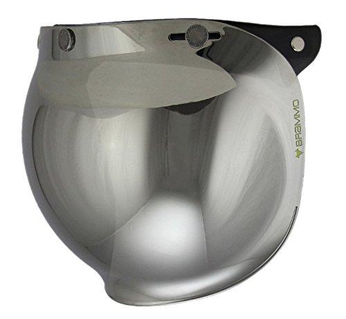 3 Snap Bubble Visor - Woljay 3-snap Motorcycle Helmet Bubble Shield with Flip Adapter (Chrome)