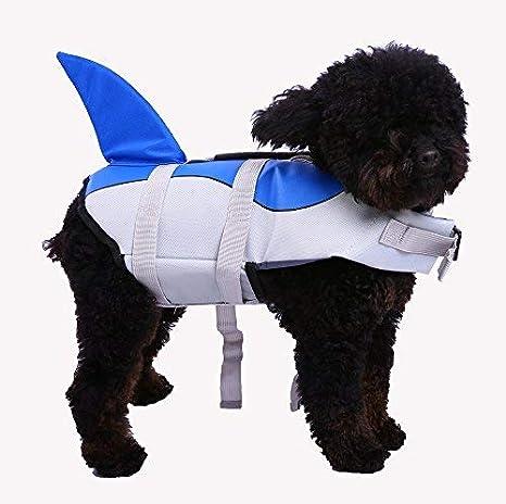 87065ff3f271d0 Amazon.com : QBLEEV Dog Life Vest Shark, Pet Floatation Jacket Float Coat,  Quick Release Lifesaver Preserver Swimming Suit Adjustable Belt Harness  Puppy ...