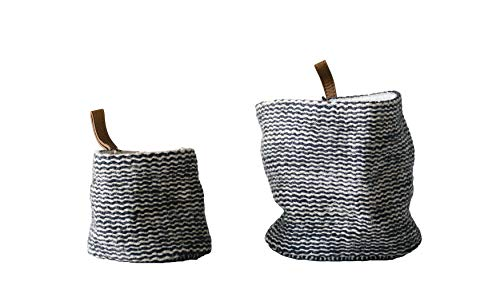 Creative Co-Op Jute Wall Baskets in Black Stripes with Leather Loop (Set of 2 Sizes)