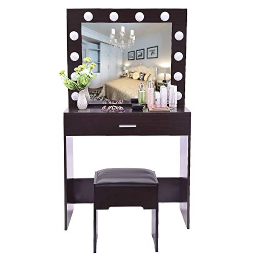 charmsamx Mirror Lighted Vanity Set with Cushioned Stool, Makeup Dressing Table with -