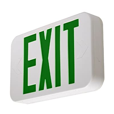 LFI Lights - Hardwired Green LED Emergency Exit Sign - Modern Design - Battery Backup - LEDGBBJR