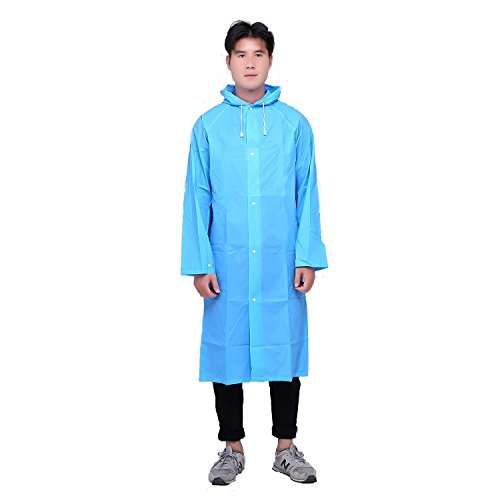 Adventure World Ripstop Button-Down Rain Poncho (Extendable Backpack Section) (Sea Blue)