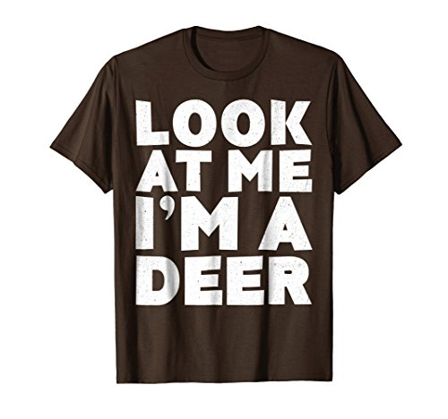 Mens Look At Me I'm A Deer T-Shirt Halloween Costume Shirt 3XL Brown