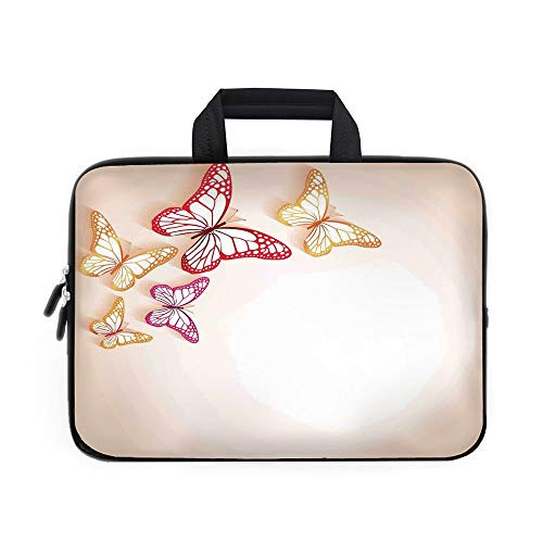 Butterfly Laptop Carrying Bag Sleeve,Neoprene Sleeve Case/Paper Cut Image of Colorful Butterflies on Background Nature Themed Art Decorative/for Apple Macbook Air Samsung Google Acer HP DELL Lenovo As