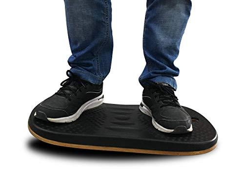 Licloud Wooden Balance Board Standing Mat Standing Desk Mat Office Accessory - Foot Rocker Leg Exerciser