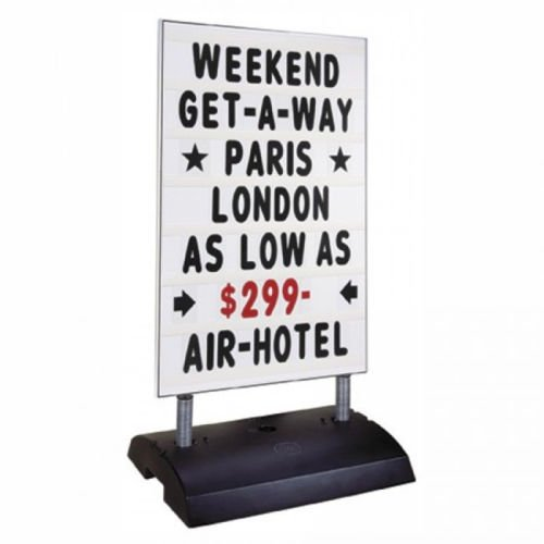 (Standard White Springer Sidewalk Curb Message Board Sign with Letters)