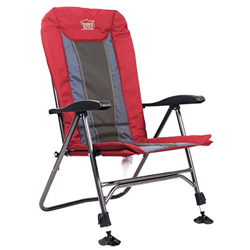 Timber Ridge Camping Chair Folding Heavy Duty with Adjustable Reclining Padded Back and Legs Supports 300lbs, Armrest, Outdoor, Fishing, Garden