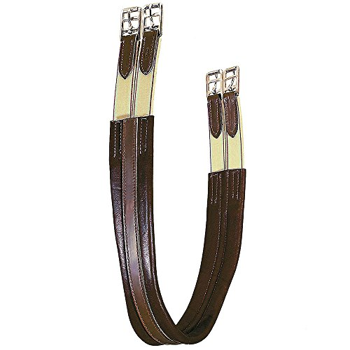Girth Tory - Tory Leather Contour English Girth with Elastic at Both End - Havana, 48
