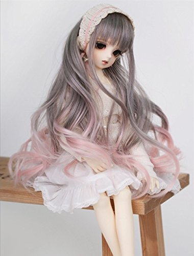 Kuafu 1/6(15-16.5cm) BJD/SD Doll Wig Fashion Lovely Long Wavy Doll Hair Wigs Grey to Pink (only wig)