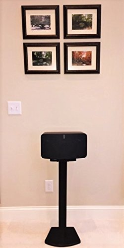 Beautiful Wood Speaker Stand Handcrafted Compatible for SONOS Play 5 (2nd Generation) Made in U.S.A. Single Stand. Black. by Soundwood