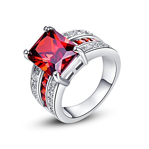 Empsoul 925 Sterling Silver Natural Novelty Plated Garnet & White CZ Bridal Ring