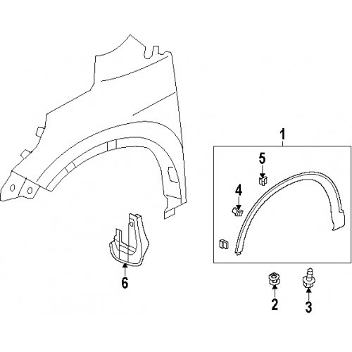 2012-2016 Honda CR-V Front Wheel Arch Protector Passenger Side - 74115-T0A-A02