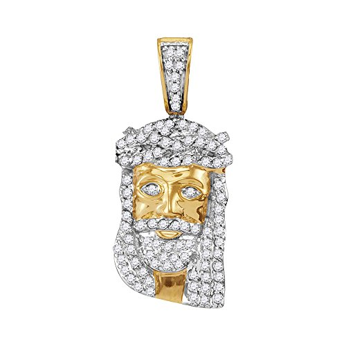 Roy Rose Jewelry 10K Yellow Gold Mens Round Diamond Small Jesus Christ Messiah Head Charm Pendant 1/3-Carat ()