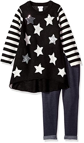 Youngland Little Girls' Sweater Knit Tunic Dress with Legging, Black, 5 - Sweater Knit Pants