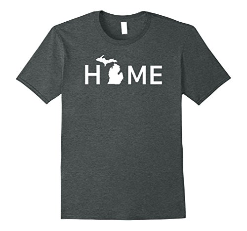 Mens Michigan Home Love U.S. State Outline Silhouette T-Shirt XL Dark Heather
