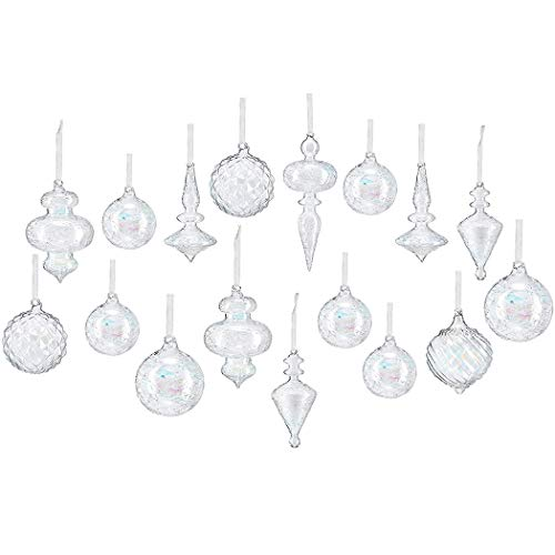 youseexmas Mouth Blown Glass Christmas Ornaments Pack of 17 Big Size (Iridescent Clear)
