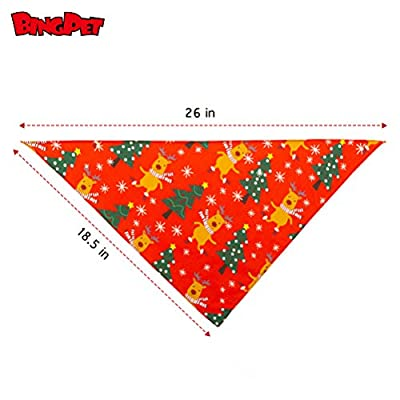 BINGPET Christmas Dog Bandanas Santa Pattern Pet Triangle Scarf Bibs Kerchief Accessories for Dogs Cats, 2 Pack