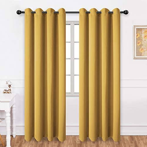 Texlab Blackout Curtains for Bedroom – Grommet Thermal Insulated Summer Heat Winter Cold, Light Blocking Window Curtain Panels for Living Room, Set of 2 Pieces, 52 x 84 Inch, Mustard Yellow